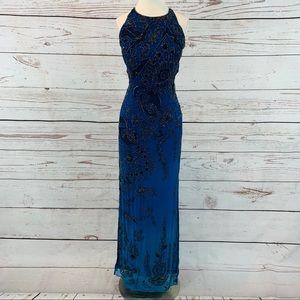 JMDC beaded ombré gown dress blue